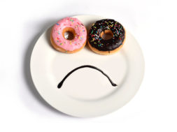 smiley sad face on dish with donuts eyes chocolate mouth